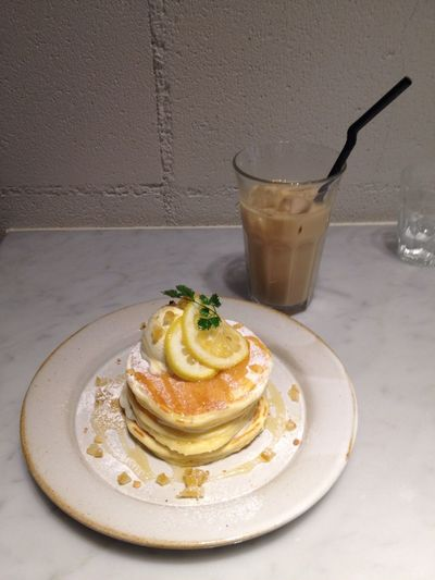 Drinking A Latte Sweet Pancakes Yummy