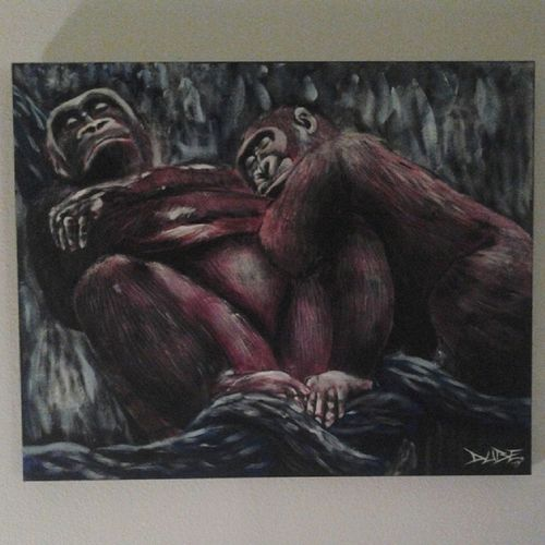 """Quality Time"" 24""×30"" - acrylic on canvas For Sale - $444 Awesomeuniverse ART4SALE Art ACRYLICART artistscongregate artist artcollectors artwork hireme2paint4u handmade MONKEY sickart INSTAGORILLA inspiration INSTAART instaart BIGART"