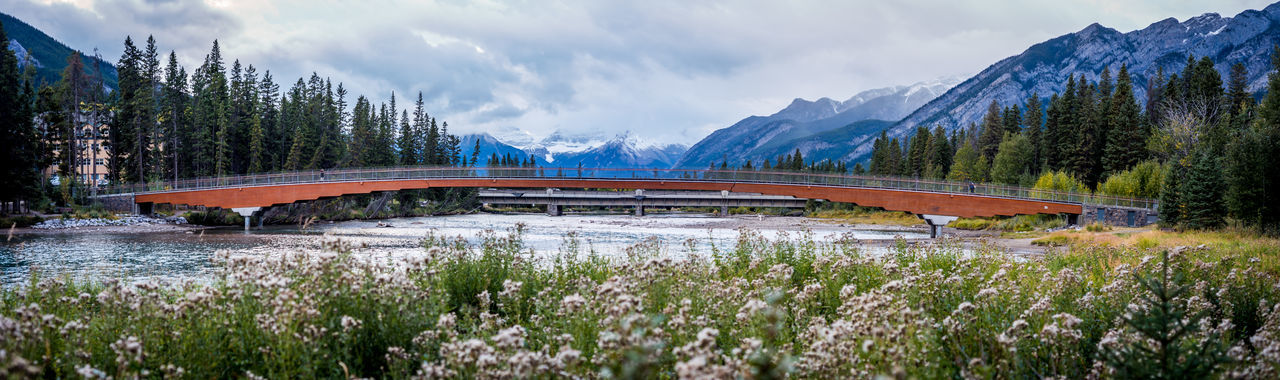 Alberta, Canada Banff National Park  Architecture Beauty In Nature Bow River Bridge - Man Made Structure Built Structure Cloud - Sky Day Landscape Motion Mountain Mountain Range Nature No People Outdoors Road Scenics Sky Transportation Tree