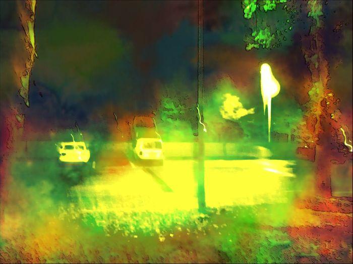Nightscene Fallen Leaves Filteroveruse Green Color Car
