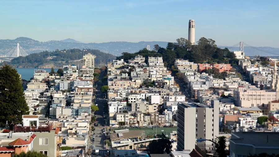 Architecture Built Structure Building Exterior City Cityscape Residential Building Sky Day Outdoors coit tower bay bridge EyeEmNewHere Neighborhood Map Place Of Heart EyeEmAwards17 California Dreamin
