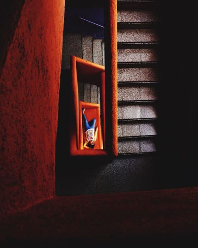 Architecture Perspective Orange Purple Stairs Darkness And Light Elegance Beauty