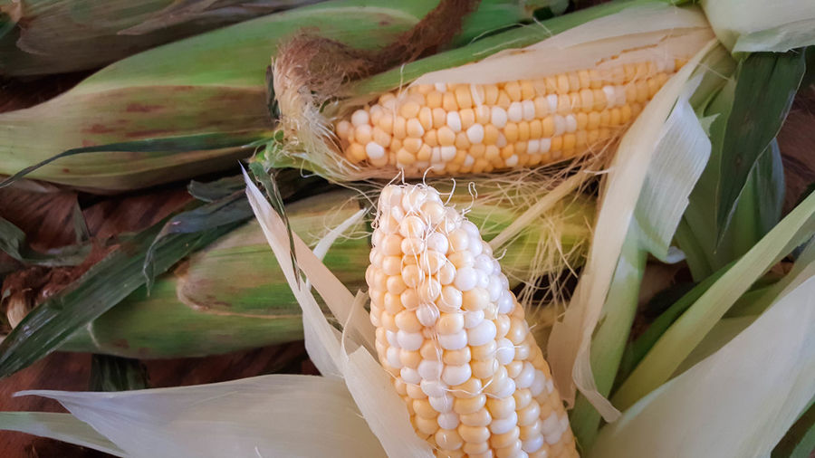 High angle view of corncobs at market