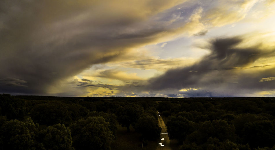 Panoramic view of storm clouds over landscape