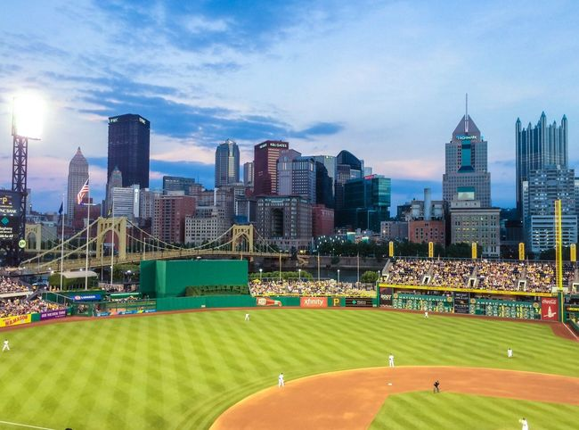 Steel City Baseball Baseball Game Baseball Field Stadium PNC Park Pittsburgh Pirates Athelete Dusk Evening Game Sports Fans City Skyline