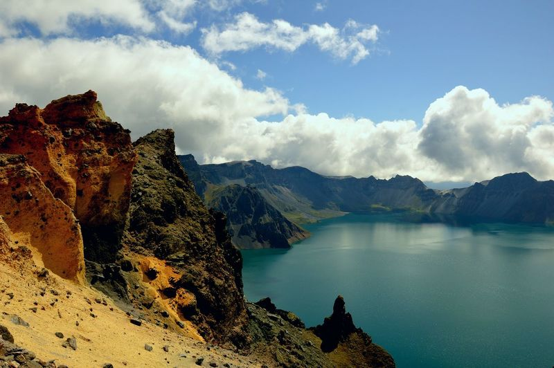 Heaven Lake on the Mt. Changbai Water Mountain Lava Rock - Object Sky Geology Physical Geography Rocky Mountains Natural Landmark Sandstone Rock Formation Volcanic Landscape Volcanic Activity My Best Travel Photo