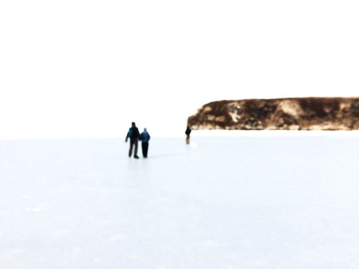 Walking Winter Cold Temperature Full Length Snow Outdoors Day People Nature Sea Frozen Cold