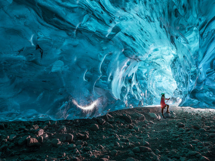 Exploring an ice cave