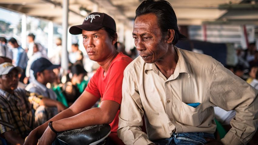 Passengers of ferry crossing the Yangon river from Yangon to Dala in Myanmar. Myanmar Yangon Ferry EyeEm Selects Adults Only Men Two People Portrait Adult People