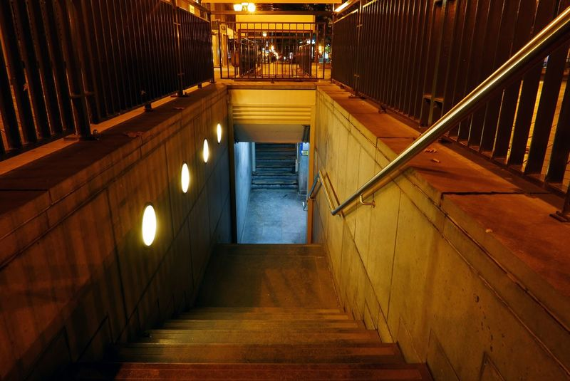 Underground Passage Stairs At Night Artificial Light Brussels Belgium