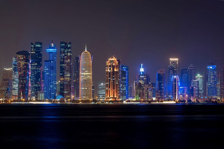Cornish of Doha Illuminated Night Skyscraper Architecture City Building Exterior Cityscape Urban Skyline Modern Travel Destinations