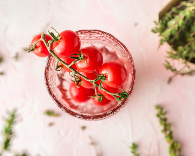 Tomatoes Cherry Tomatoes Pink Background Vitamin Dietfood Veggies Vegetables Healthy Eating Color Colorful Vegetarian Food Fruit Drinking Glass Tree Plant Vegan Detox Low Carb Diet Antioxidant