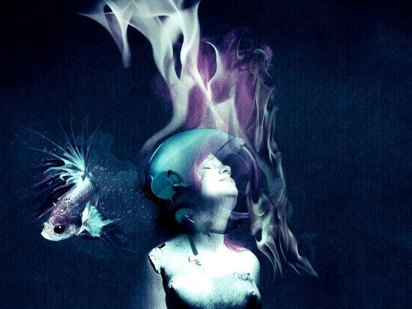 Casque Woman Who Inspire You Hairstyle Underwater Büste Pierre