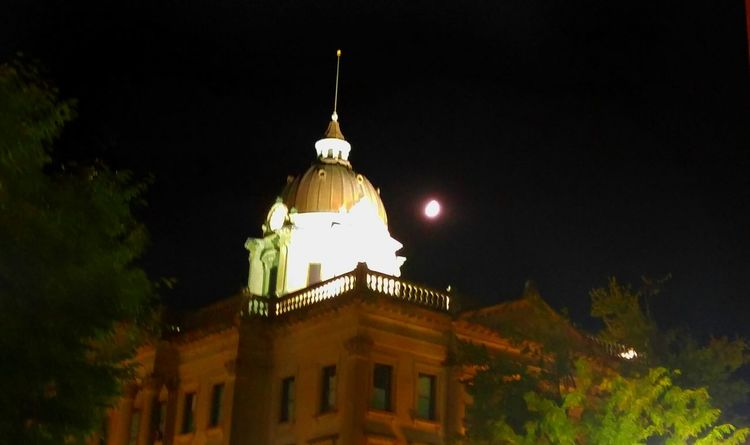 Architecture Dome Spire  History Mclean County, IL Bloomington, IL Downtown Night Walking Museum Low Angle View