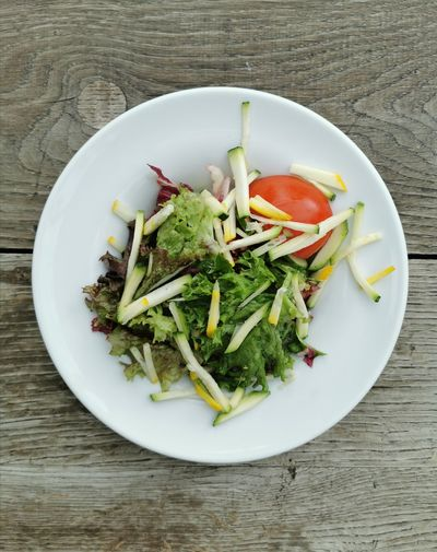 High angle view of salad in plate on table