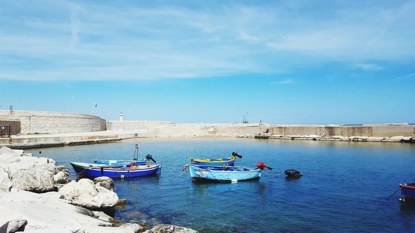 Puglia Porto Barchetta Sea And Sky Harbor Beach Sunny Nautical Vessel Sand Sea Blue Landscape Clear Sky Sky Day Water Vacations Transportation Travel Destinations Outdoors Horizon Over Water No People Nature Sommergefühle