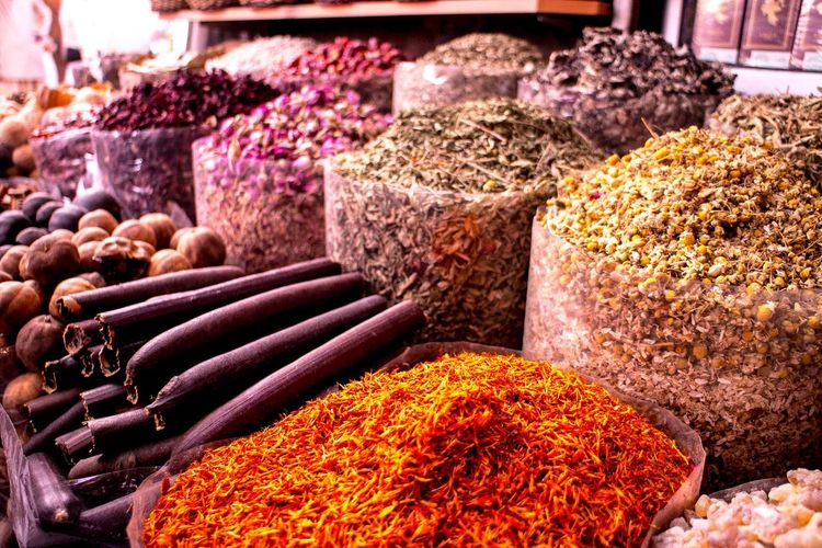 Close-up of spices for sale at market stall