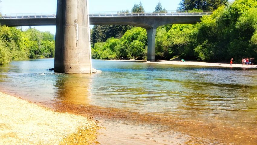 Under the bridge. Riverbank fun in the sun. Bridges Abutment Background People Fun Leisure Merging Shimmering Copy Space Golden River Sonoma Russian River Enjoying The Sun Weekend Group Water Tree Underneath Architectural Column Below River Under Sky Architecture Beach Shore Pebble Beach Rushing Calm