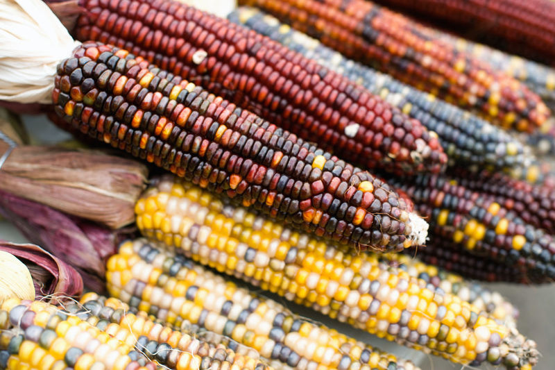 High Angle View Of Corns For Sale At Market