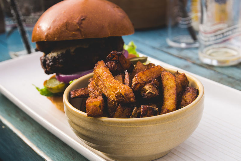 Burger Time Burger Food And Drink Bowl Close-up Fast Food Focus On Foreground Food Food And Drink Freshness Fried High Angle View Indoors  Meat No People Plate Pub Food Ready-to-eat Serving Size Snack Still Life Table Temptation Tray Unhealthy Eating Vegetable