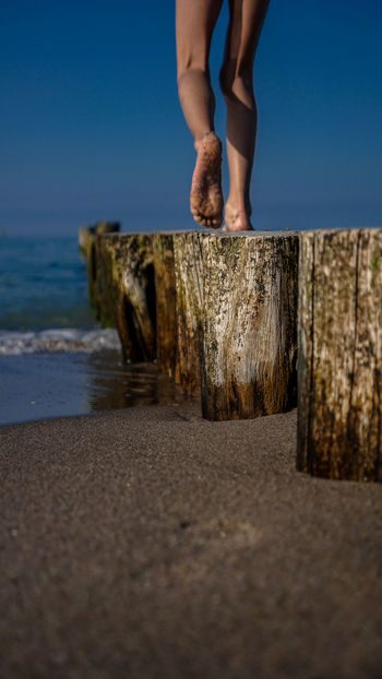 Go to the Beach Baltic Sea Beach Body Part Child Childhood Day Human Body Part Human Foot Human Leg Human Limb Land Leisure Activity Lifestyles Low Section Nature Outdoors People Sea Selective Focus Sky Standing Sunset Surface Level Water Wood - Material
