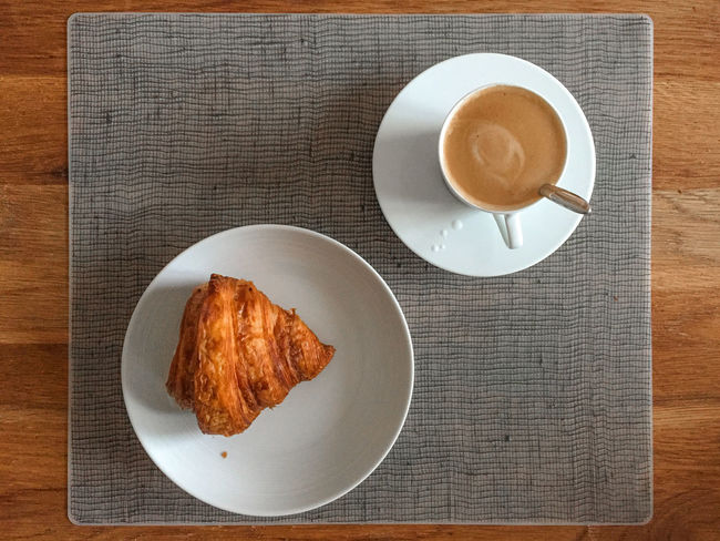 Easy breakfast Breakfast Breakfast Coffee - Drink Coffee Cup Croissant Day Directly Above Drink Food Food And Drink French Freshness High Angle View Indoors  No People Plate Sweet Food Table Food Stories