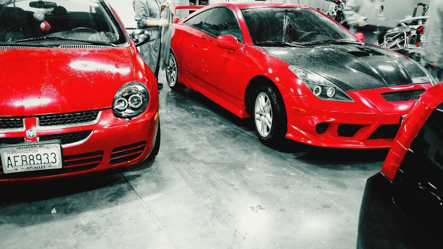 Best friends. Dodge Neon Toyota Celica Red Cars