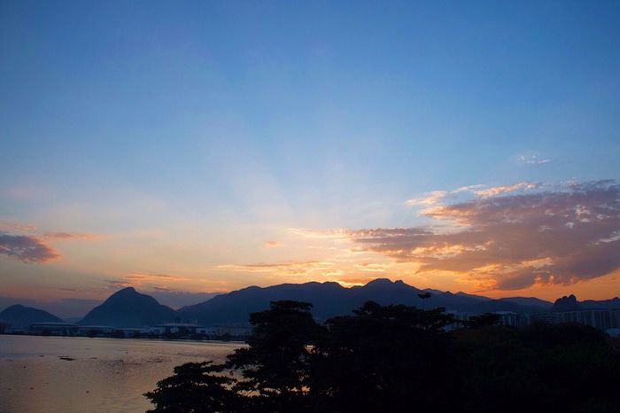 Mountain Sunset Scenics Beauty In Nature Silhouette Nature Sky Tranquil Scene Mountain Range Tranquility Outdoors No People Tree Water Landscape Sea Day Rio De Janeiro