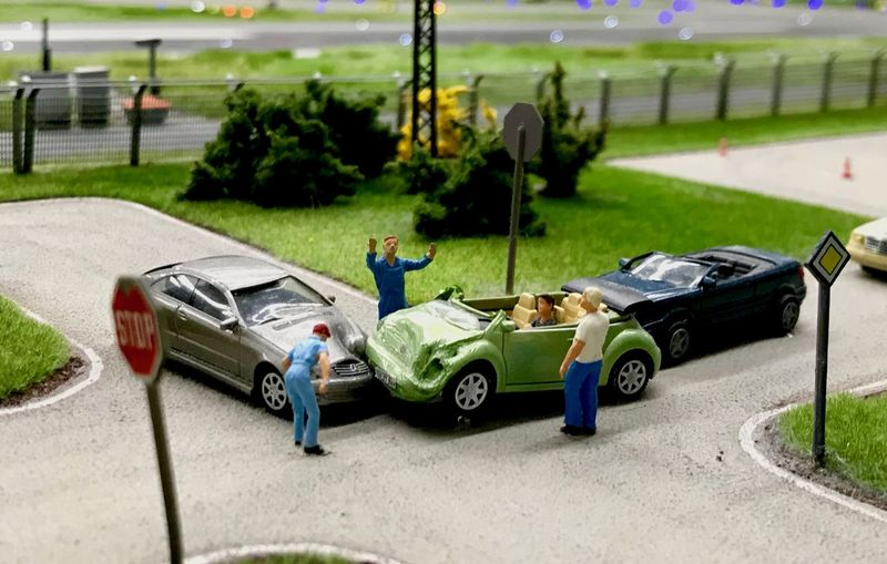 View of toy car on road