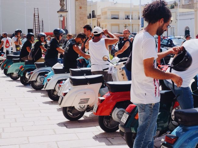Collected Community People Watching Ready to Ride on Retro Vespa in Puglia Italy Eye4photography  Capture The Moment