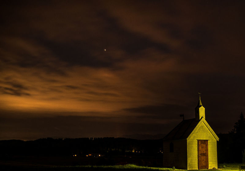 Nikon Architecture Beauty In Nature Belief Building Building Exterior Built Structure Cloud - Sky D750 Graphxart Langzeitbelichtung Nature Night No People Orange Color Outdoors Place Of Worship Religion Silhouette Sky Spirituality Sunset