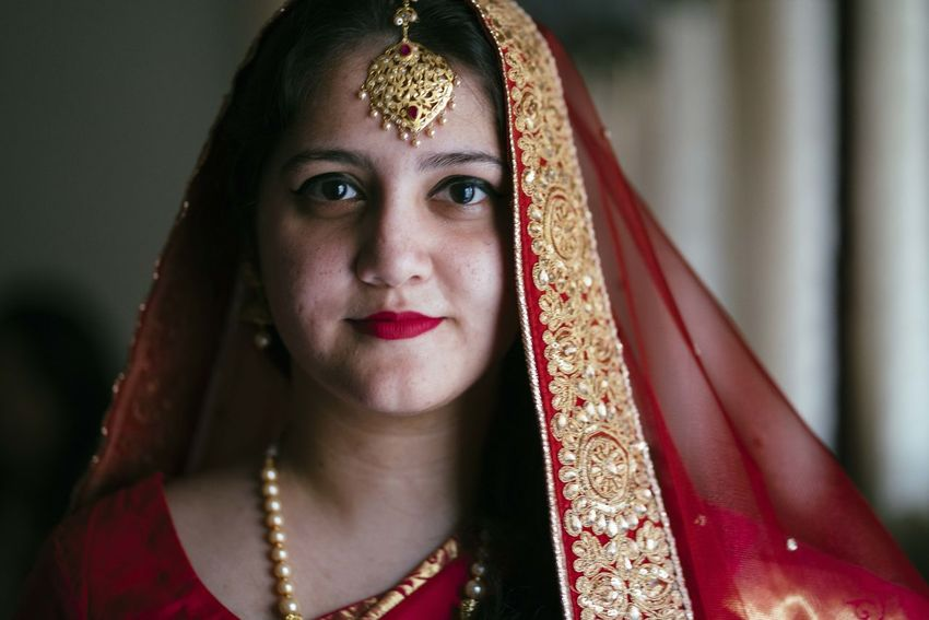 Beautiful Woman Bride Celebration Close-up Cultures Day Focus On Foreground Front View Headshot Indoors  Life Events Lifestyles Looking At Camera One Person Portrait Real People Red Religion Smiling Tradition Traditional Clothing Young Adult Young Women