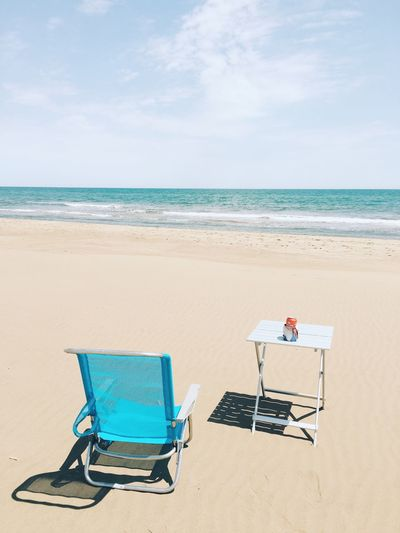 Summertime Enpty Copyspace Copy Space Blank Ocean Summer Summertime Drink Beer SPAIN Europe Horizon Over Water Seat Horizon Tranquility Relaxation No People Day Outdoors Scenics - Nature Tranquil Scene Nature