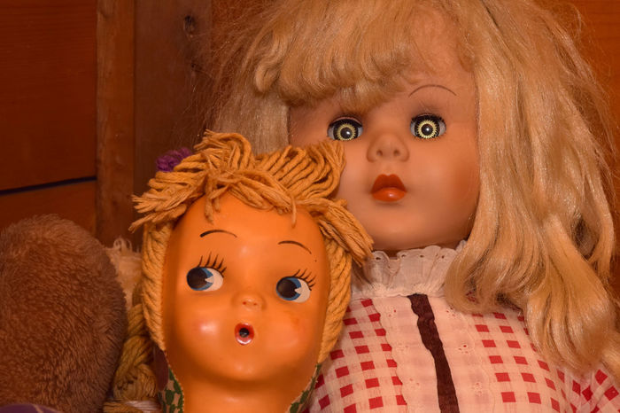 Vintage Dolls with Creepy Glass Eyes Doll, Halloween Horror Retro Closeup Creepy Eyes Face Glass Haunt Portrait Scary Terror Vintage