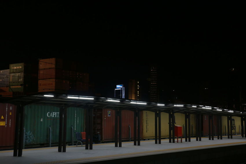 Architecture Building Exterior Built Structure City Cold Colors Container Emotions Halkapınar Horizontal Illuminated Izmir Light Lonely Night Nigth  No People Outdoors Sky Train Station
