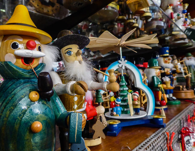 Close-up of toys in shop for sale