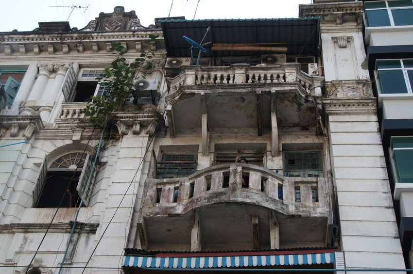 Yangon. Myanmar Yangon. Myanmar Architecture Balcony Building Exterior Built Structure Day Low Angle View No People Outdoors Window