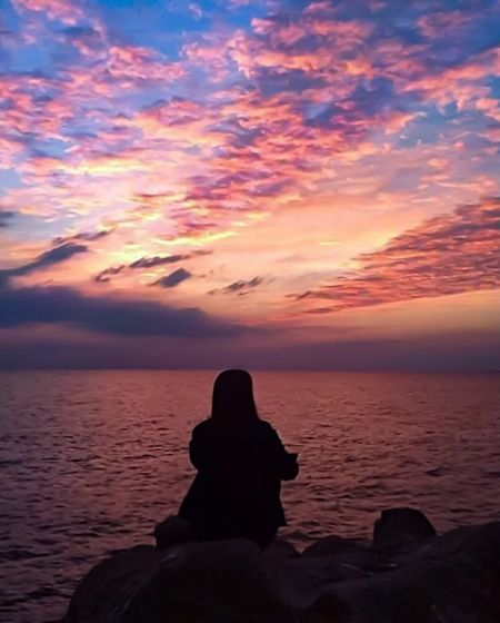 Contemplation Sunset Silhouette Nature Sea Beauty In Nature Sky Scenics Water Tranquility Tranquil Scene Horizon Over Water Outdoors One Person Cloud - Sky Real People Day People EyeEmNewHere
