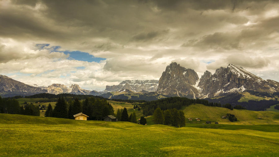Alps Italy Alto Adige Dolomites Dolomites, Italy Langkofel Group Sella Pass Südtirol Val Gardena Beauty In Nature Cloud - Sky Day Italy Landscape Mountain Mountain Range Nature No People Outdoors Scenics Seiser Alm Sky