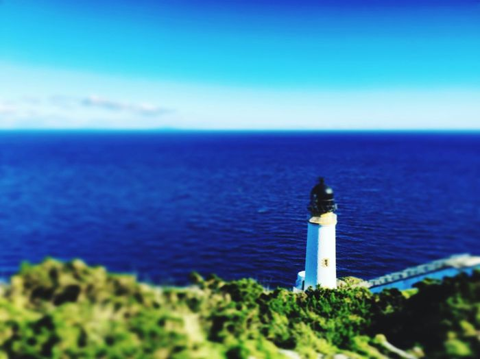 Lighthouse Sea Blue Blue Sky Tiltshift Maughold Nice View