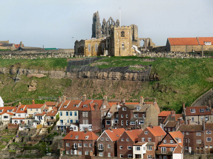 Buildings against whitby abbey