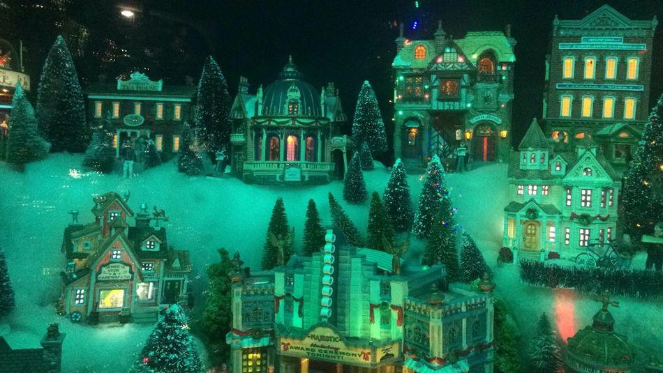 WHITE CHRISTMAS Christmas Decoration City Illuminated Miniature Night Outdoors Snow Tree
