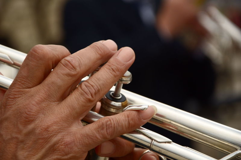 Cropped image of hand playing bass instrument