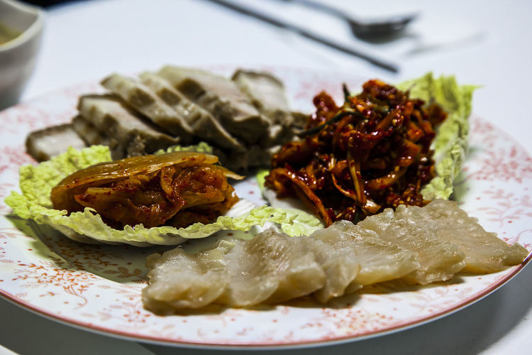A Taste Of Life Samhap Ripened Skate Ripened Kimchi Steamed Pork Seasoned Kimchi Strong Flavour Strong Smell