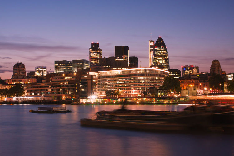 Skyline of London at dusk City City Of London Cityscape London London Skyline Skyline Thames Twilight Building Building Exterior Dusk Dusk In The City England Evening Illuminated Landmark Night No People Sky Skycraper Travel Destinations Uk Urban Skyline
