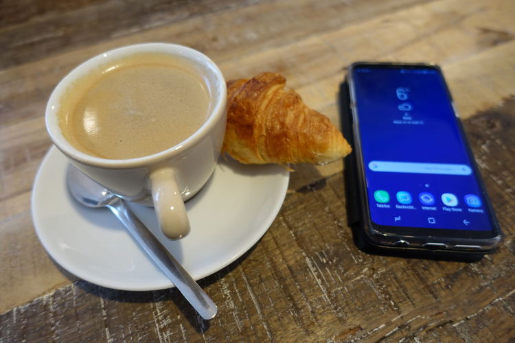 breakfast Smart Phone Breakfast Plate Close-up Sweet Food Food And Drink Croissant Black Coffee Coffee French Food