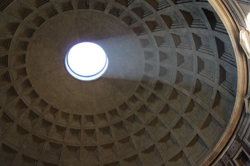 Architectural Feature Architecture Ceiling Directly Below Dome Famous Place Geometric Shape History Italy Landmark Light Through The Window Low Angle View Ornate Pantheon Rome Skylight
