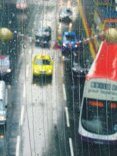 Yellow cab Rain Weather Wet Transportation RainDrop Drop Rainy Season Window Street Traffic Yellow Taxi Looking Through Window