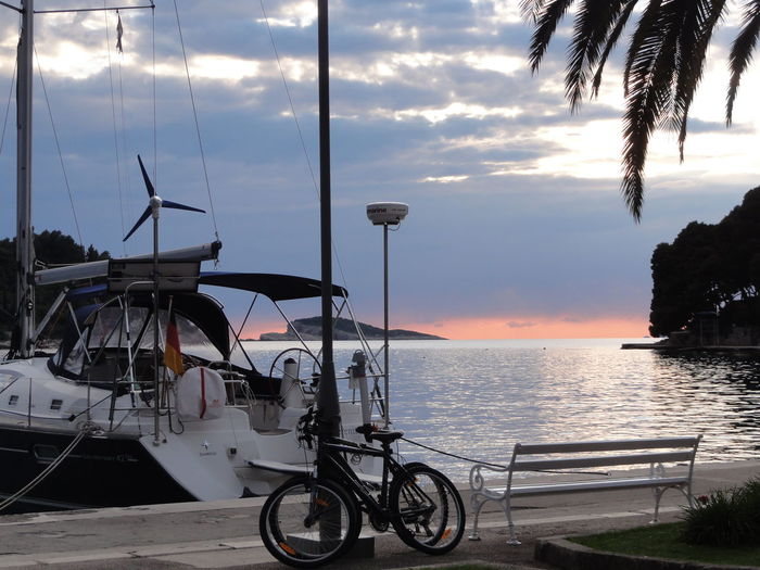 Adventure Buddies Bicycle Boat Cavtat , Croatia Leisure Activity Mode Of Transport Nautical Vessel Outdoors Sea Sky Sunset Transportation Travel Vacations Voyage Water Weekend Activities