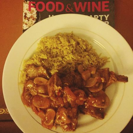 My version of Sweet-and-Sour Pork with Yellow Rice. I love creating dishes from my mind instead of recipes. Food Indoors  Freshness Healthy Eating Temptation Indulgence Architecture Chicago Pspauly63